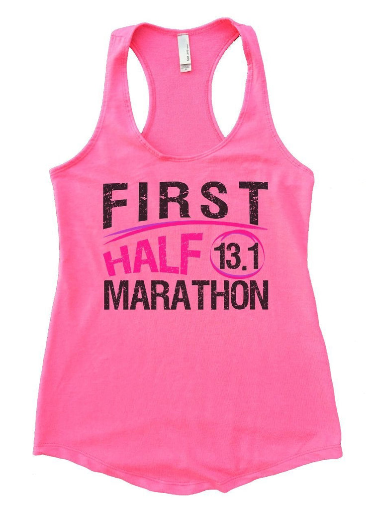 FIRST HALF 13.1 MARATHON Womens Workout Tank Top Funny Shirt Small / Heather Pink