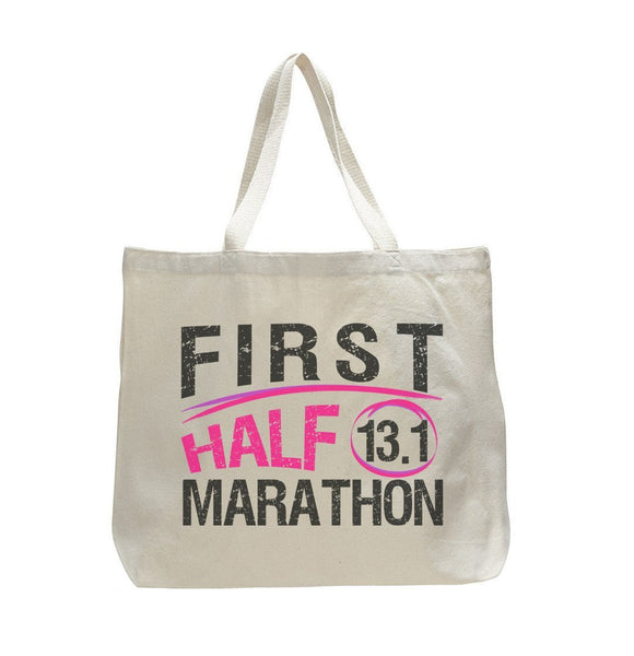 First Half Marathon 13.1 - Trendy Natural Canvas Bag - Funny and Unique - Tote Bag Funny Shirt
