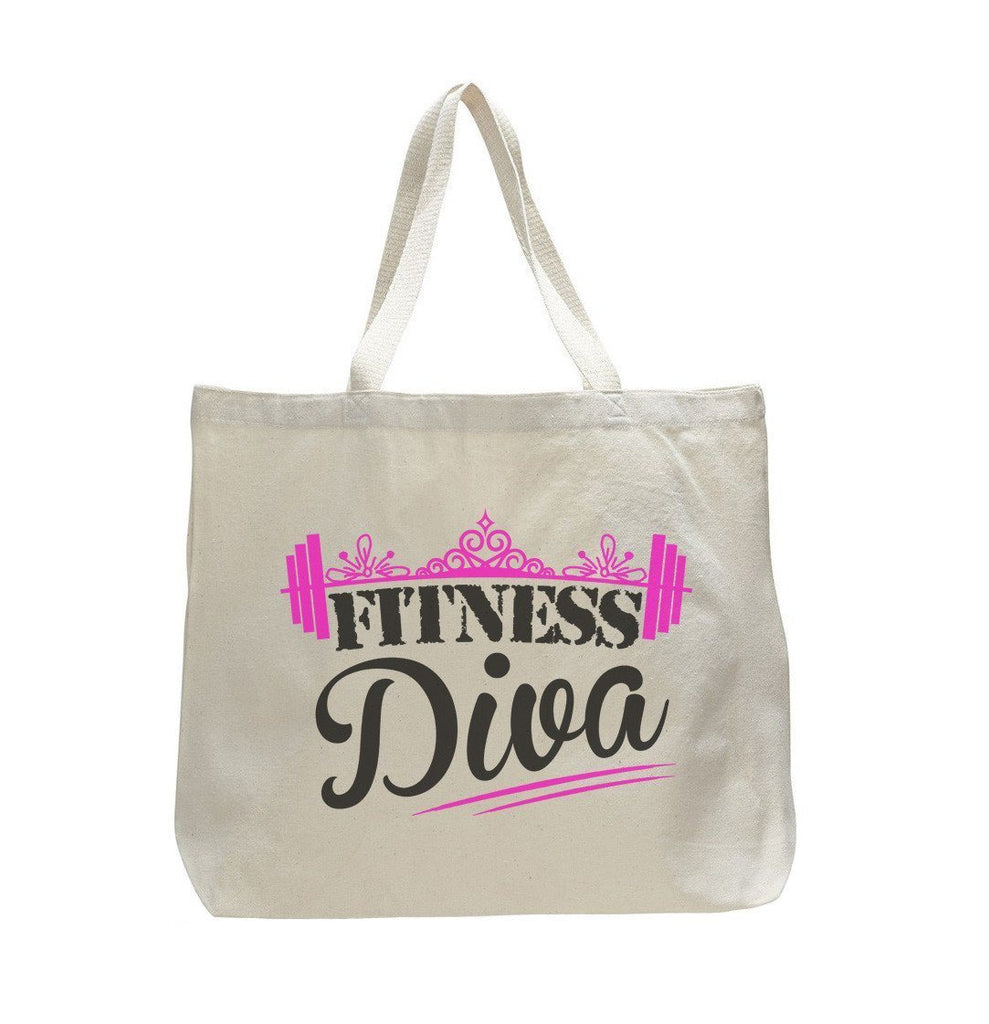 Fitness Diva - Trendy Natural Canvas Bag - Funny and Unique - Tote Bag - FunnyThreadz.com