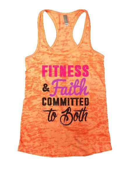 Fitness & Faith Committed To Both Burnout Tank Top By Funny Threadz Funny Shirt Small / Neon Orange