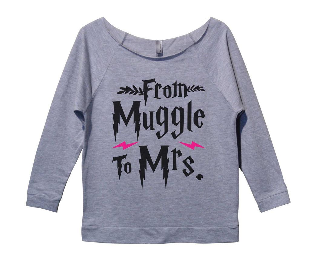 From Muggle To Mrs Womens 3/4 Long Sleeve Vintage Raw Edge Shirt Funny Shirt Small / Grey