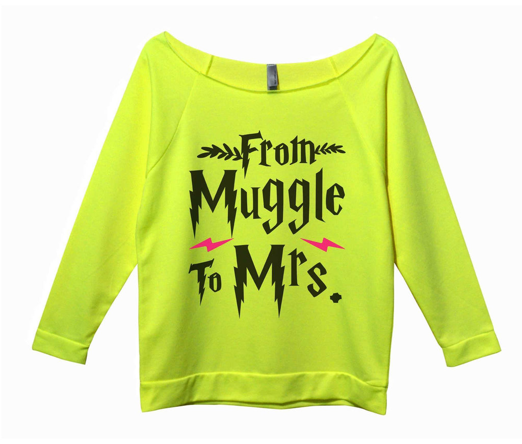 From Muggle To Mrs Womens 3/4 Long Sleeve Vintage Raw Edge Shirt Funny Shirt Small / Neon Yellow