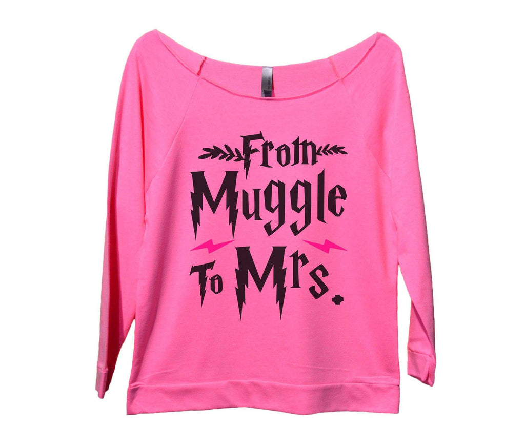 From Muggle To Mrs Womens 3/4 Long Sleeve Vintage Raw Edge Shirt Funny Shirt Small / Pink