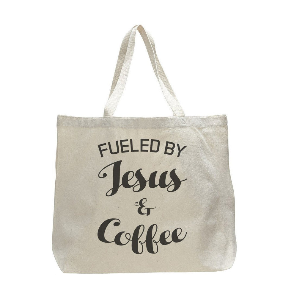 Fueled By Jesus And Coffee - Trendy Natural Canvas Bag - Funny and Unique - Tote Bag - FunnyThreadz.com