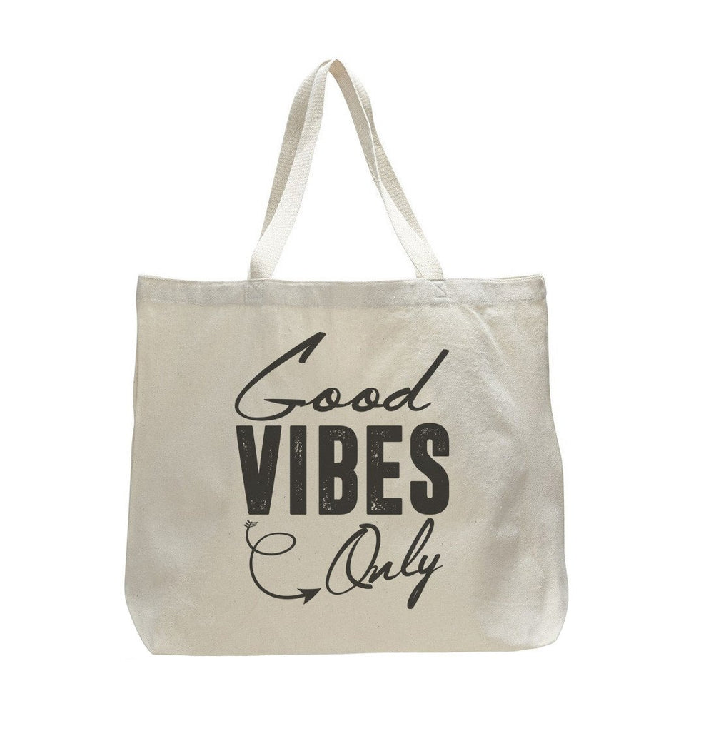 Good Vibes Only - Trendy Natural Canvas Bag - Funny and Unique - Tote Bag - FunnyThreadz.com