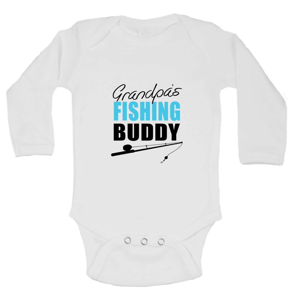 Grandpas Fishing Buddy Funny Kids Onesie Funny Shirt Long Sleeve 0-3 Months