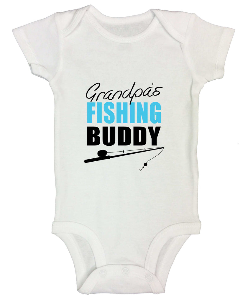 Grandpas Fishing Buddy Funny Kids Onesie Funny Shirt Short Sleeve 0-3 Months