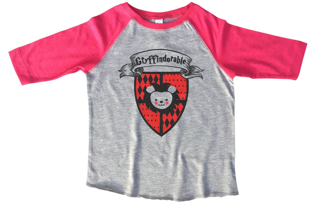 Gryffindorable BOYS OR GIRLS BASEBALL 3/4 SLEEVE RAGLAN - VERY SOFT TRENDY SHIRT B367 Funny Shirt 2T Toddler / Pink