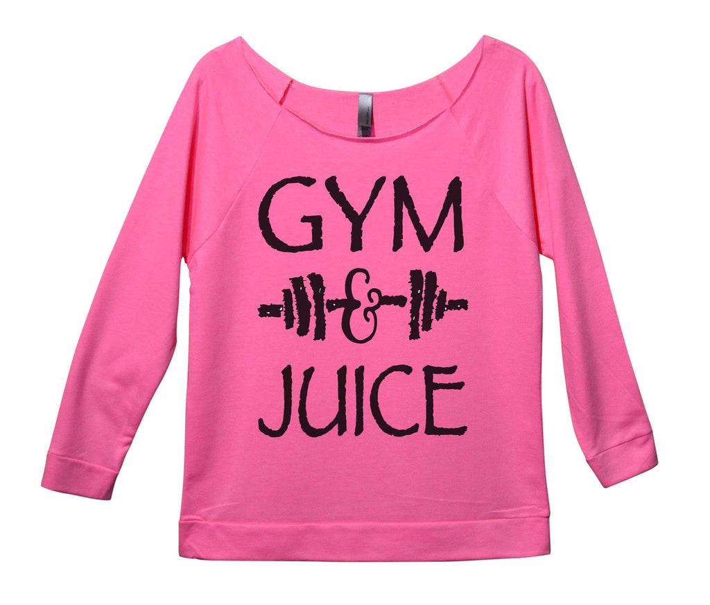 Gym And Juice Womens 3/4 Long Sleeve Vintage Raw Edge Shirt Funny Shirt Small / Pink