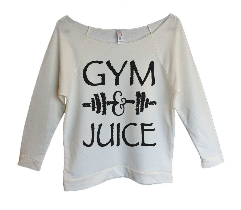 Gym And Juice Womens 3/4 Long Sleeve Vintage Raw Edge Shirt Funny Shirt Small / Beige