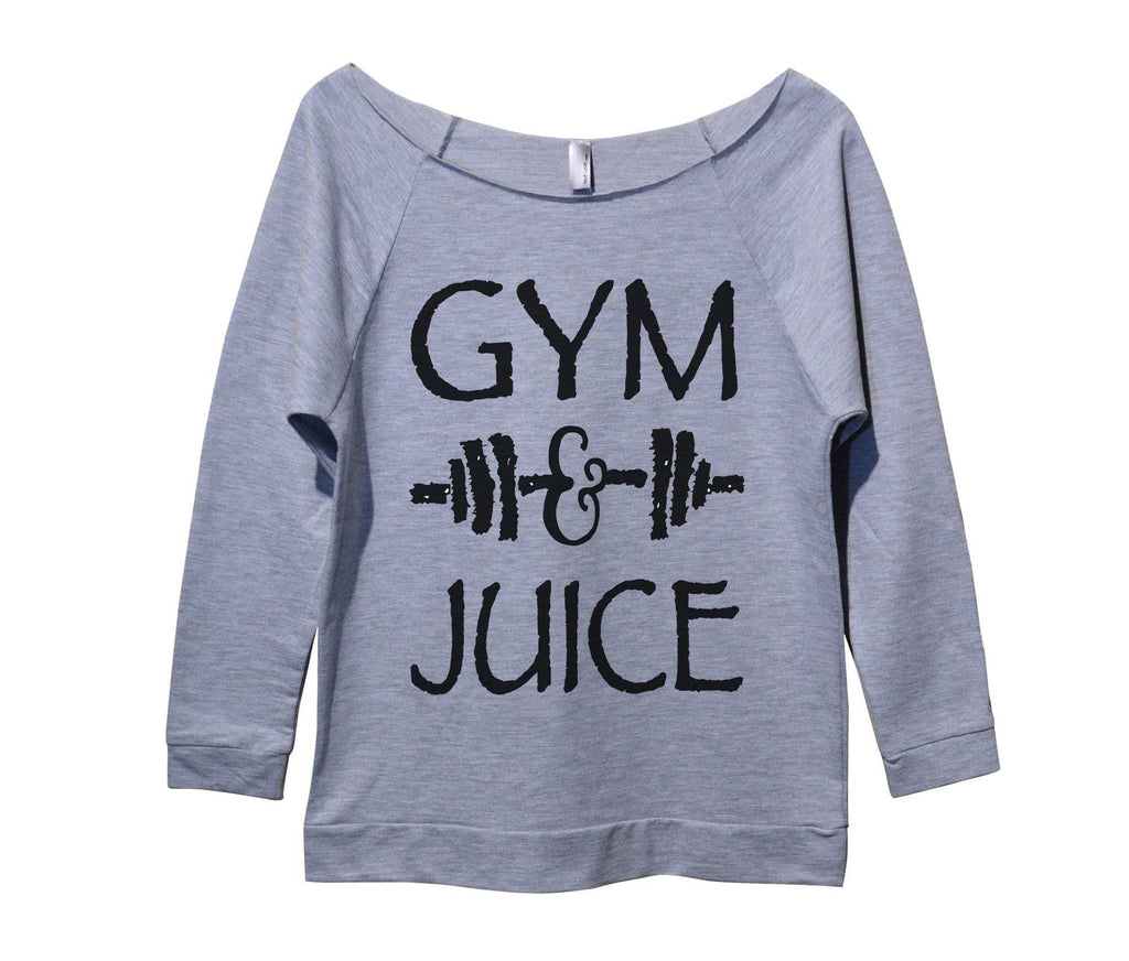 Gym And Juice Womens 3/4 Long Sleeve Vintage Raw Edge Shirt Funny Shirt Small / Grey