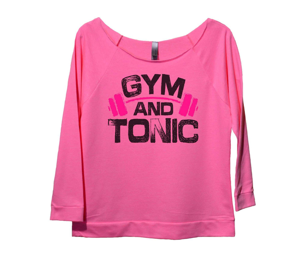 Gym And Tonic Womens 3/4 Long Sleeve Vintage Raw Edge Shirt Funny Shirt Small / Pink