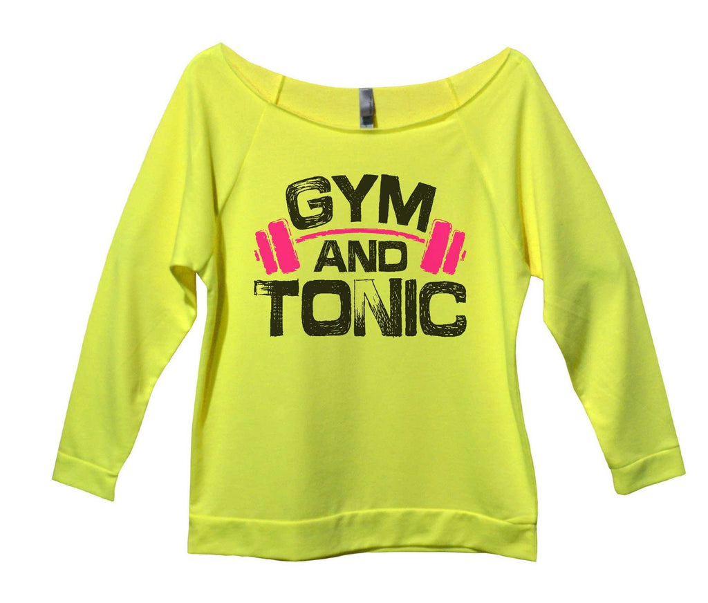 Gym And Tonic Womens 3/4 Long Sleeve Vintage Raw Edge Shirt Funny Shirt Small / Neon Yellow