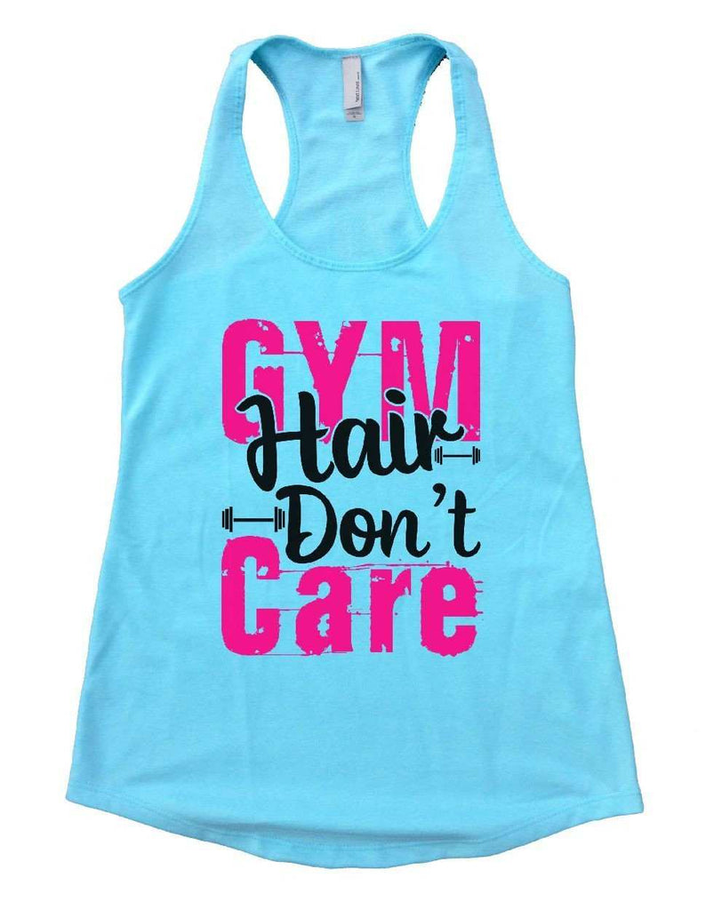 GYM Hair Don't Care Womens Workout Tank Top Funny Shirt Small / Cancun Blue