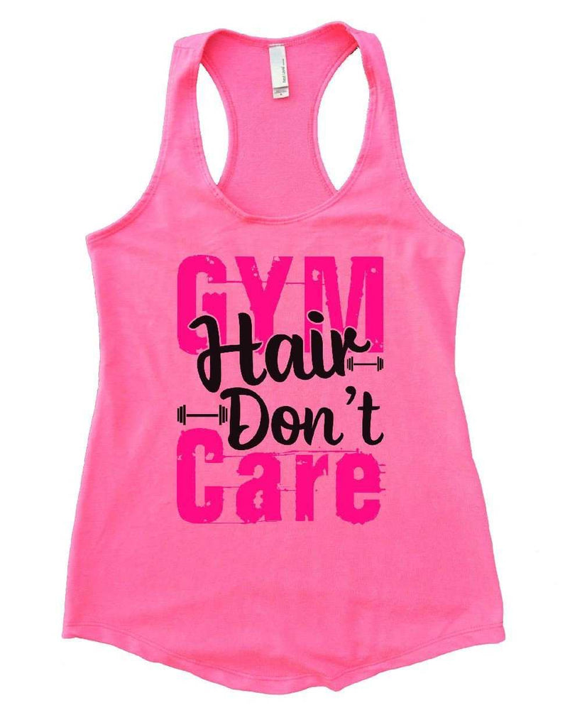 GYM Hair Don't Care Womens Workout Tank Top Funny Shirt Small / Heather Pink