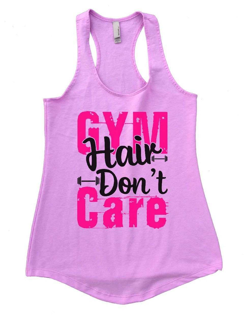 GYM Hair Don't Care Womens Workout Tank Top Funny Shirt Small / Lilac