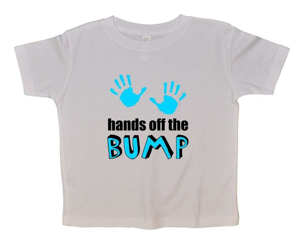 Hands Off The Bump Funny Kids Onesie Funny Shirt 2T White Shirt