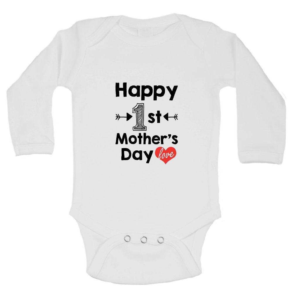 Happy 1st Mother's Day Love Funny Kids Onesie Funny Shirt Long Sleeve 0-3 Months