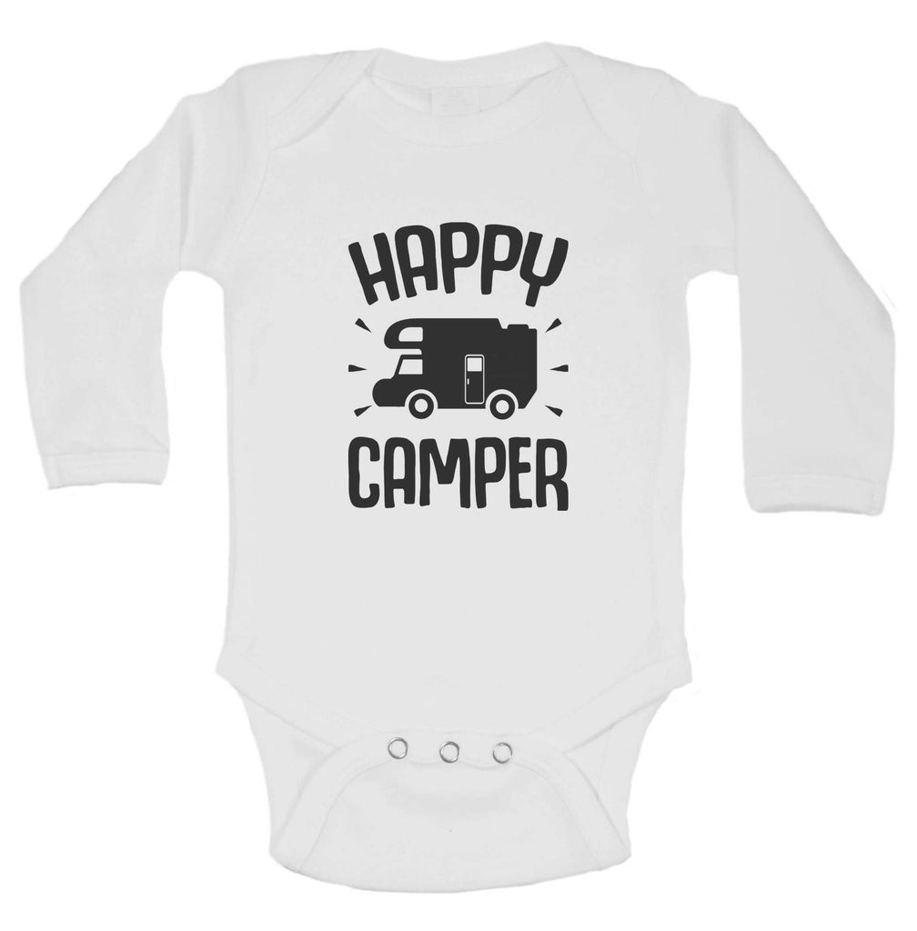 Happy Camper Funny Kids Onesie Funny Shirt Long Sleeve 0-3 Months