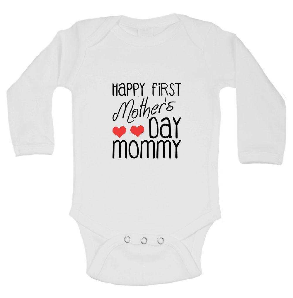 Happy First Mother's Day Mommy Funny Kids Onesie Funny Shirt Long Sleeve 0-3 Months