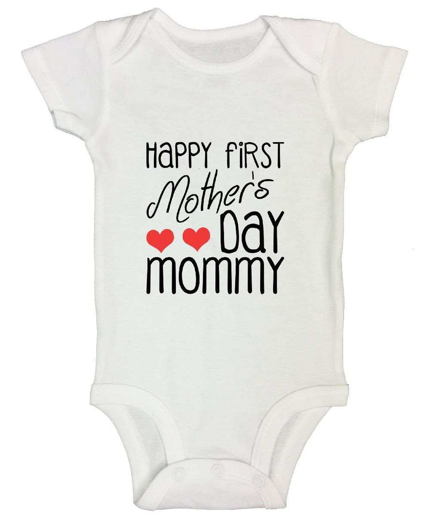 Happy First Mother's Day Mommy Funny Kids Onesie Funny Shirt Short Sleeve 0-3 Months