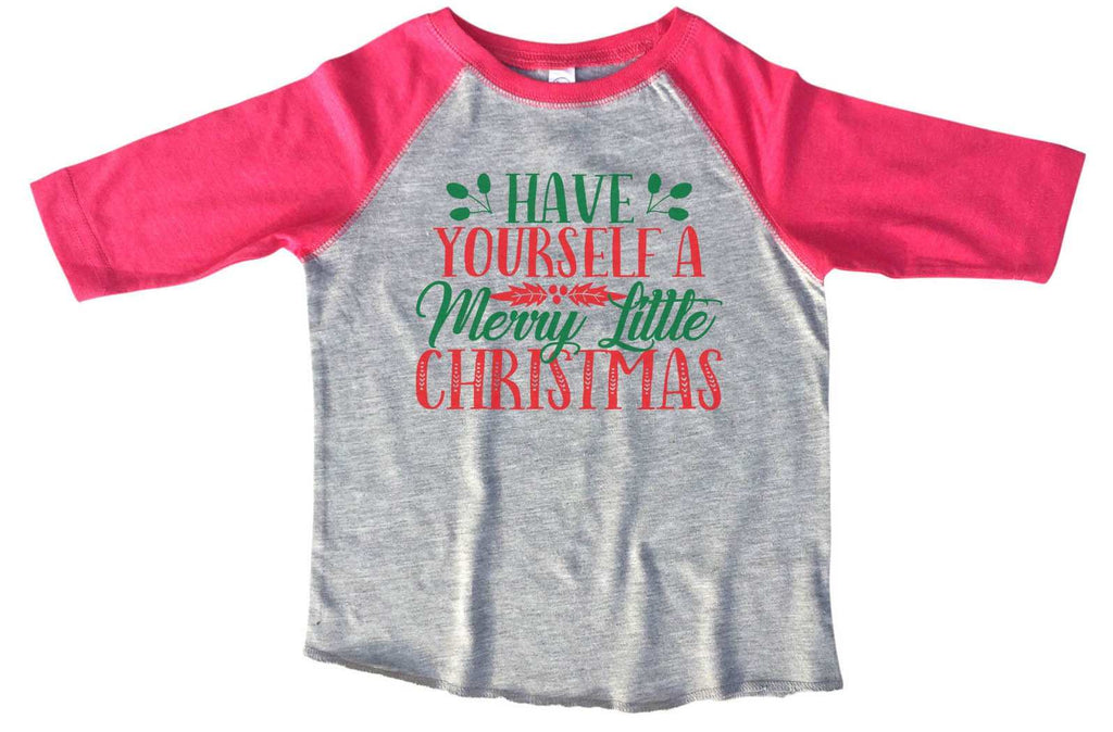 Have Yourself A Merry Little Christmas BOYS OR GIRLS BASEBALL 3/4 SLEEVE RAGLAN - VERY SOFT TRENDY SHIRT 2377 Funny Shirt 2T Toddler / Pink