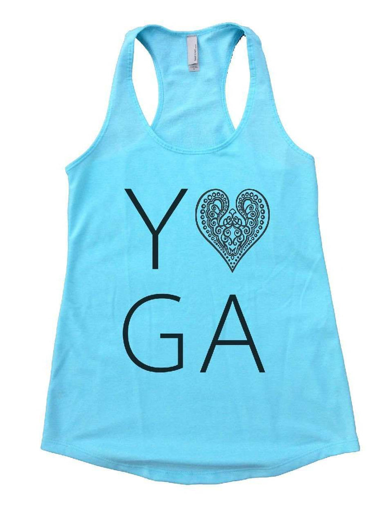 Heart I Love Yoga Womens Workout Tank Top Funny Shirt Small / Cancun Blue