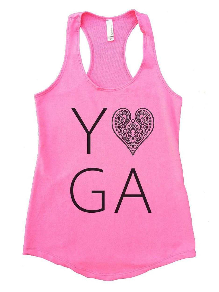 Heart I Love Yoga Womens Workout Tank Top Funny Shirt Small / Heather Pink