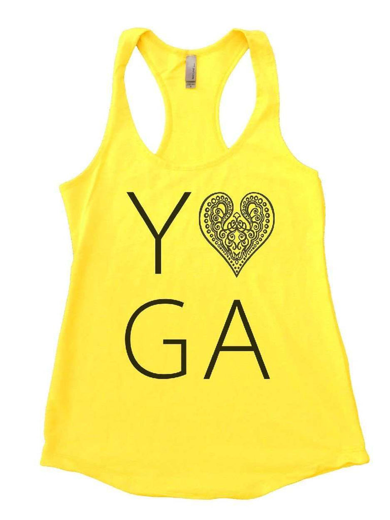 Heart I Love Yoga Womens Workout Tank Top Funny Shirt Small / Yellow