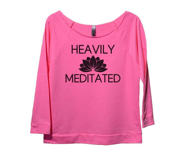 Heavily Meditated Womens 3/4 Long Sleeve Vintage Raw Edge Shirt Funny Shirt Small / Pink