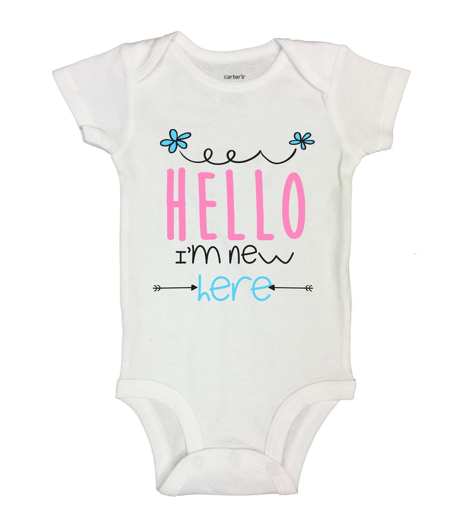 Hello I'm New Here Funny Kids Onesie Funny Shirt Short Sleeve 0-3 Months