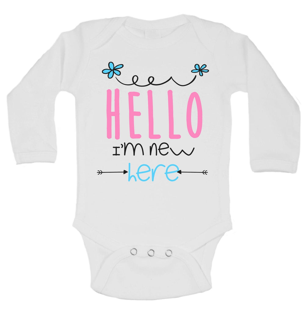 Hello I'm New Here Funny Kids Onesie Funny Shirt Long Sleeve 0-3 Months