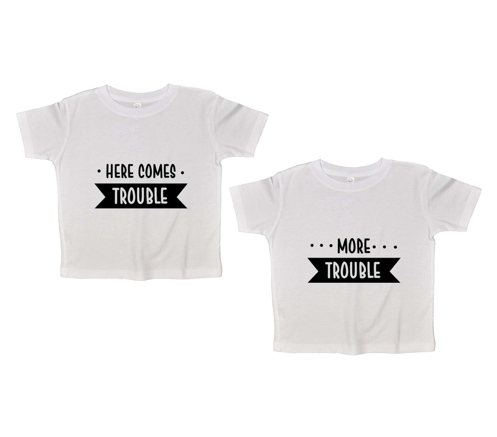 Here Comes Trouble Twin Funny Kids Onesie Funny Shirt 2T White Shirt