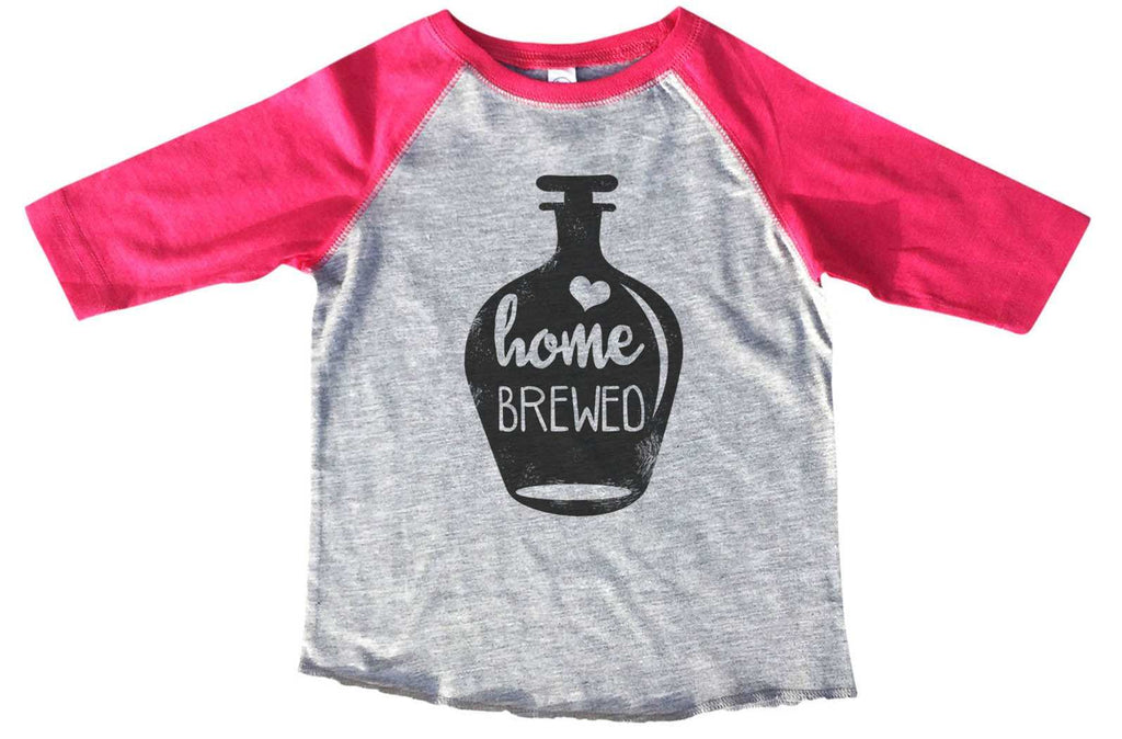 Home Brewed  BOYS OR GIRLS BASEBALL 3/4 SLEEVE RAGLAN - VERY SOFT TRENDY SHIRT B830 Funny Shirt 2T Toddler / Pink