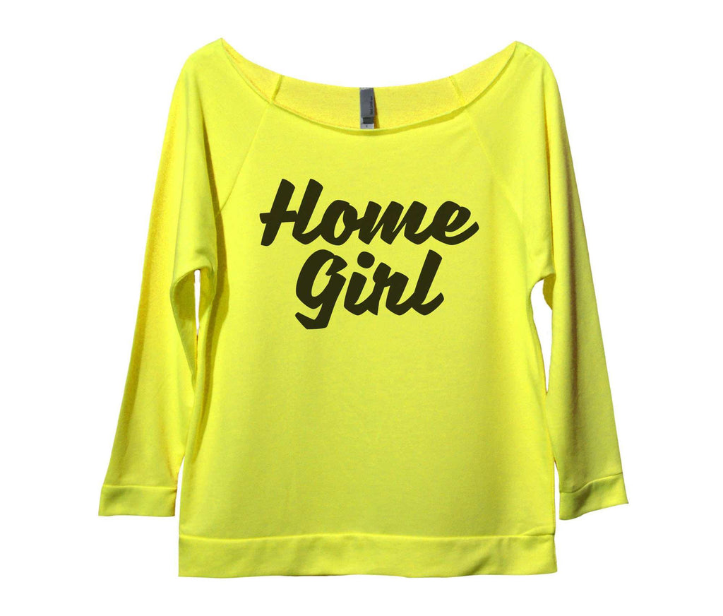 Home Girl Womens 3/4 Long Sleeve Vintage Raw Edge Shirt Funny Shirt Small / Neon Yellow
