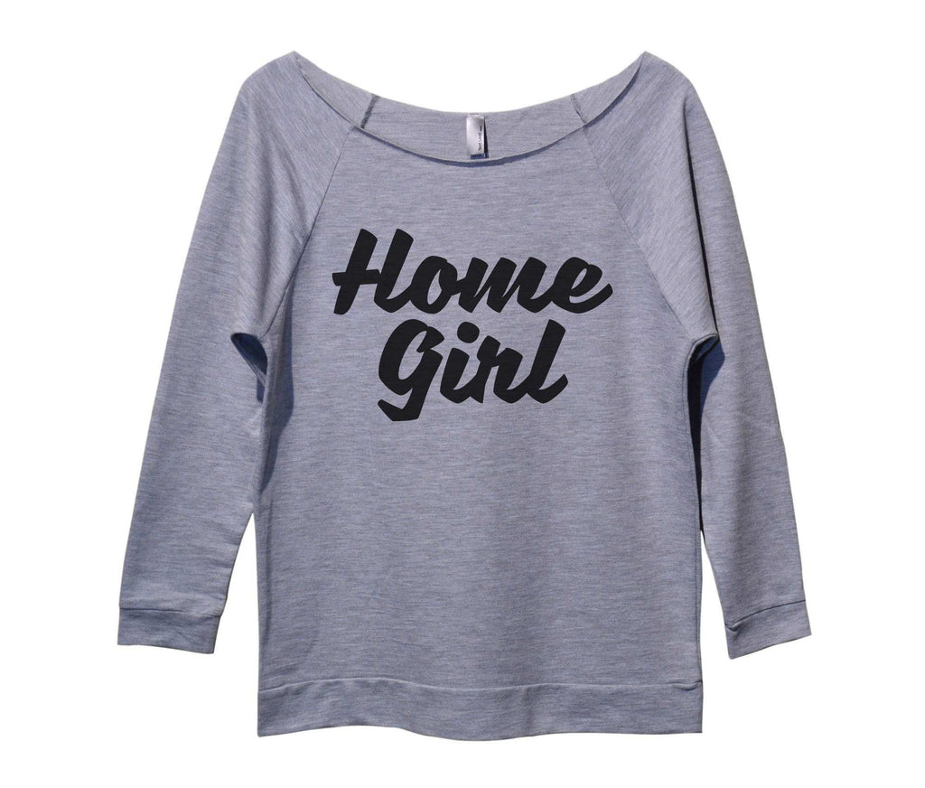 Home Girl Womens 3/4 Long Sleeve Vintage Raw Edge Shirt Funny Shirt Small / Grey