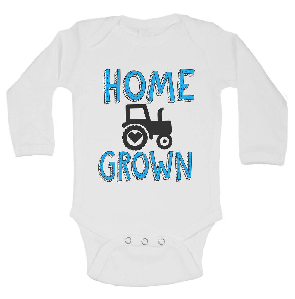 Home Grown Funny Kids Onesie Funny Shirt Long Sleeve 0-3 Months