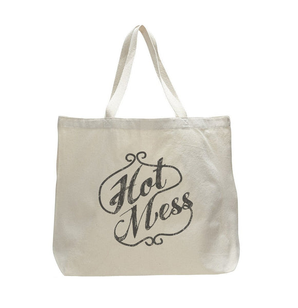 Hot Mess - Trendy Natural Canvas Bag - Funny and Unique - Tote Bag Funny Shirt