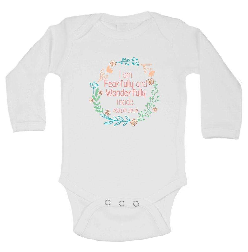 I Am Fearfully And Wonderfully Made Funny Kids Onesie Funny Shirt Long Sleeve 0-3 Months