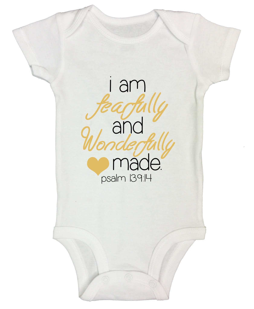 I Am Fearfully And Wonderfully Made Funny Kids Onesie Funny Shirt Short Sleeve 0-3 Months