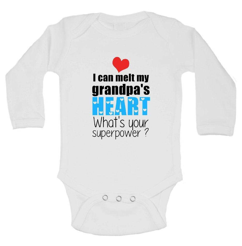 I Can Melt My Grandpa's Heart What's Your Superpower? Funny Kids Onesie Funny Shirt Long Sleeve 0-3 Months