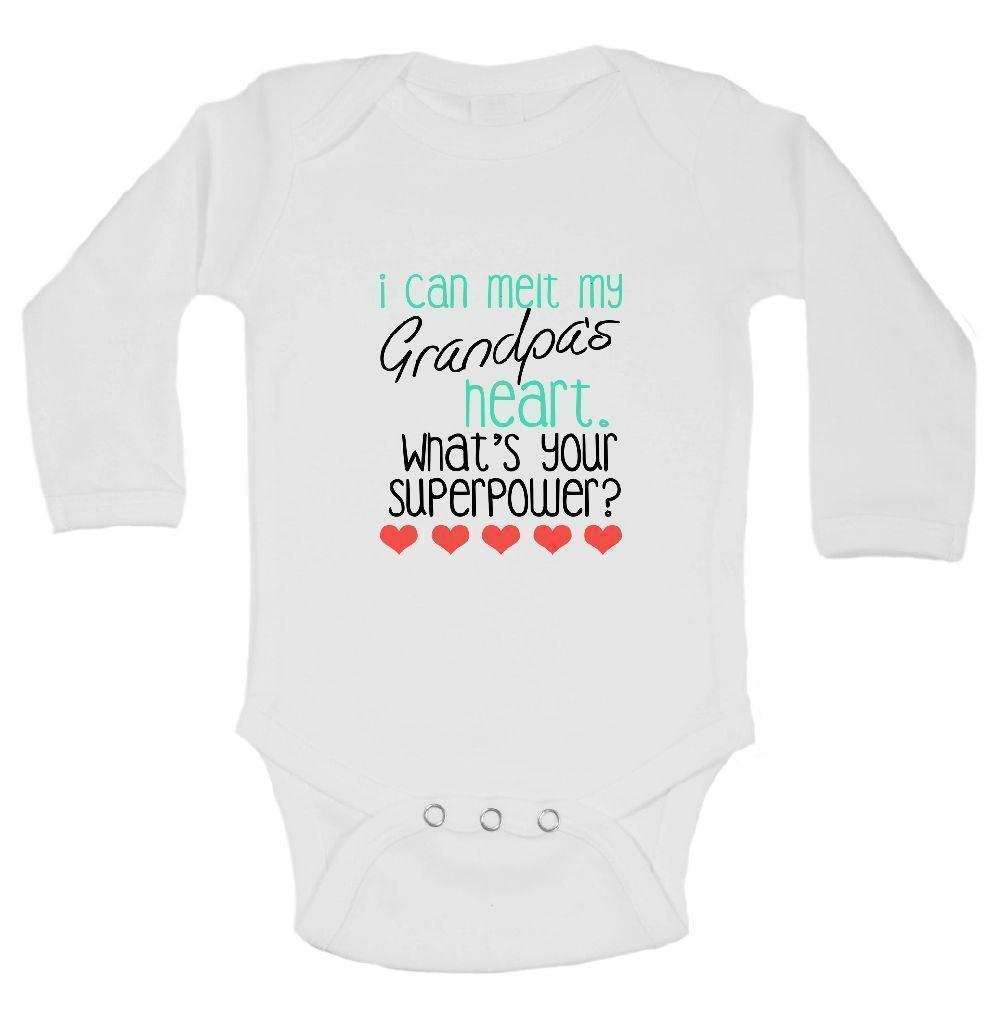 I Can Melt My Grandpa's Heart. What's Your Superpower? Funny Kids Onesie Funny Shirt Long Sleeve 0-3 Months