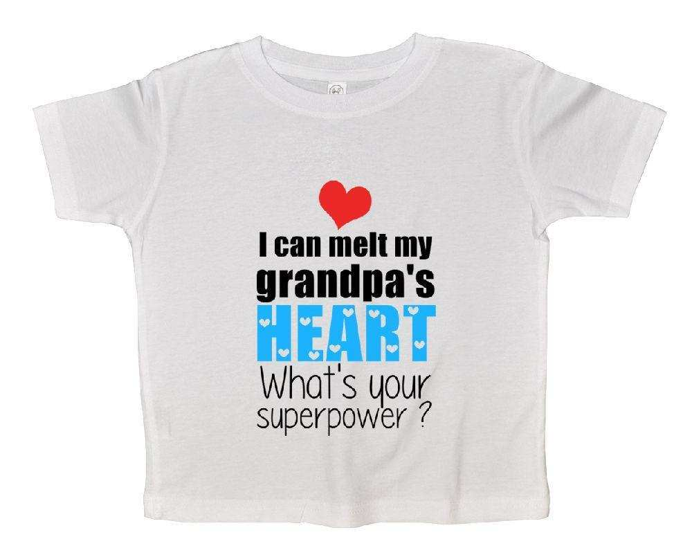 I Can Melt My Grandpa's Heart What's Your Superpower? Funny Kids Onesie Funny Shirt 2T White Shirt