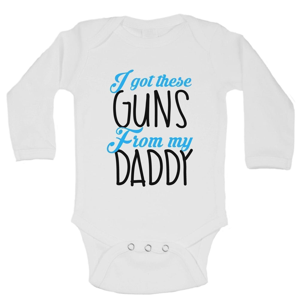 0e4a796a1bd I Got These Guns From My Daddy Funny Kids Onesie