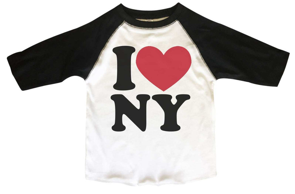 I Love Ny BOYS OR GIRLS BASEBALL 3/4 SLEEVE RAGLAN - VERY SOFT TRENDY SHIRT B267 Funny Shirt 2T Toddler / Black