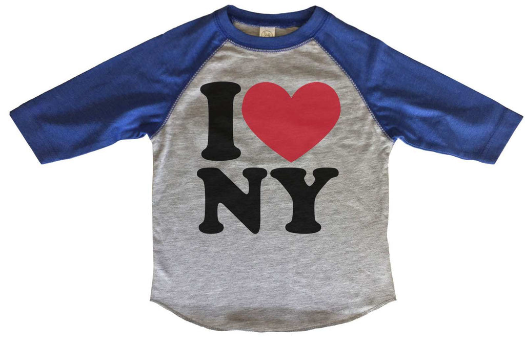 I Love Ny BOYS OR GIRLS BASEBALL 3/4 SLEEVE RAGLAN - VERY SOFT TRENDY SHIRT B267 Funny Shirt 2T Toddler / Blue
