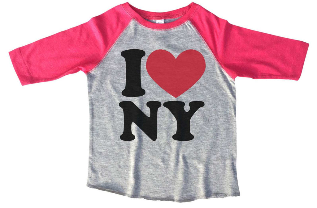 I Love Ny BOYS OR GIRLS BASEBALL 3/4 SLEEVE RAGLAN - VERY SOFT TRENDY SHIRT B267 Funny Shirt 2T Toddler / Pink