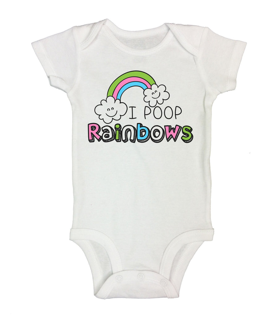 I Poop Rainbows Funny Kids Onesie Funny Shirt Short Sleeve 0-3 Months