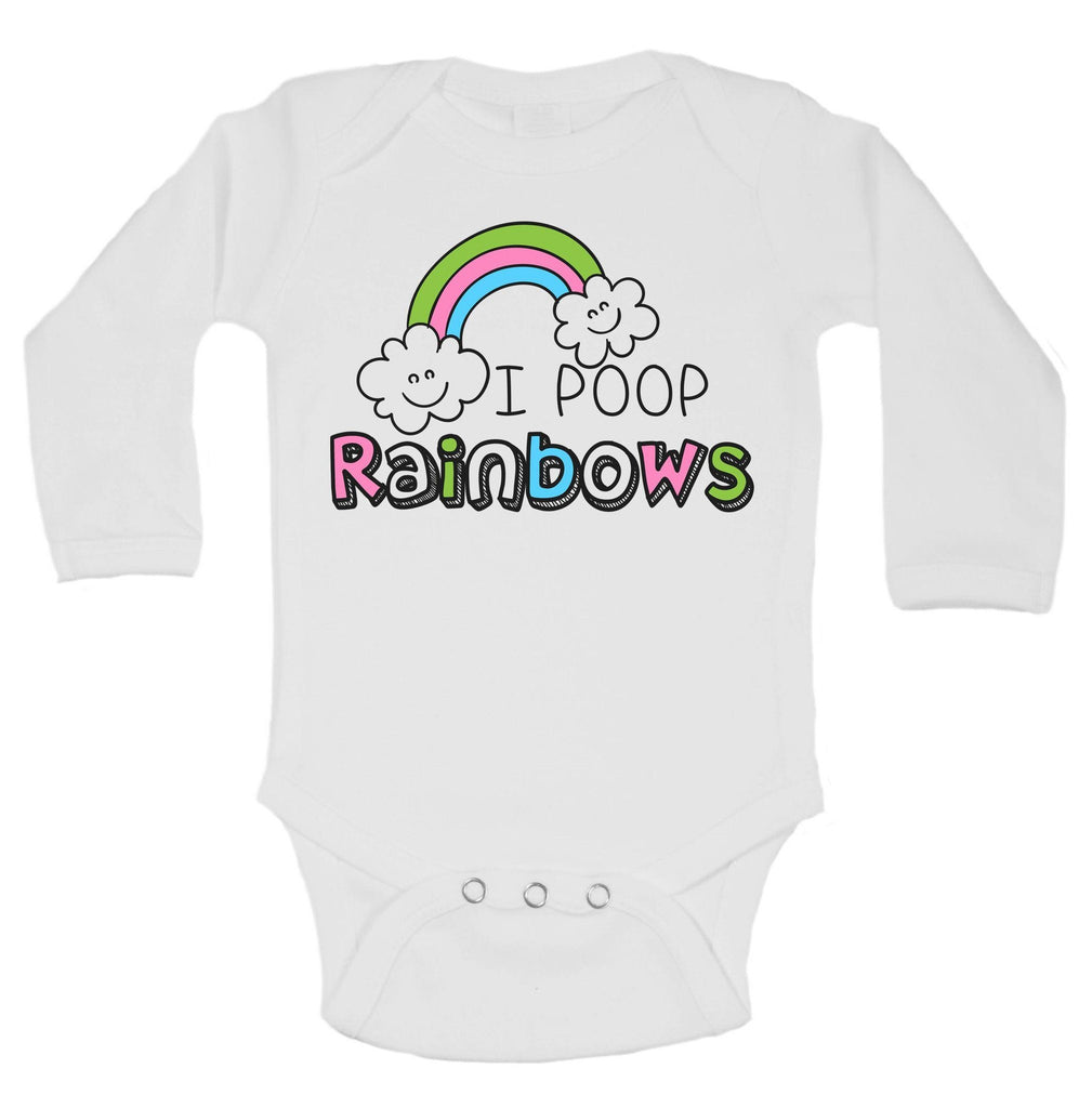 I Poop Rainbows Funny Kids Onesie Funny Shirt Long Sleeve 0-3 Months