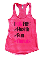 I Run For Health Fun Donuts Womens Workout Tank Top Funny Shirt Small / Hot Pink
